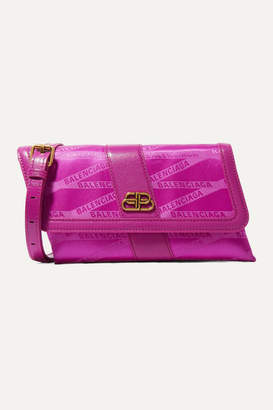 Balenciaga Shift Leather-trimmed Jacquard Shoulder Bag - Fuchsia