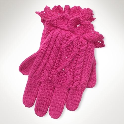 Aran-Knit Cotton Gloves