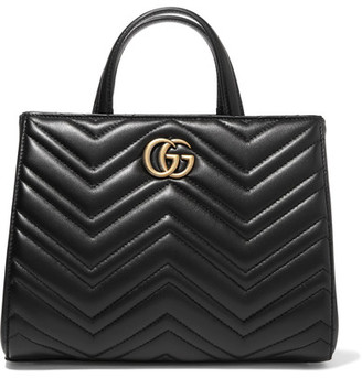 Gg Marmont Quilted Leather Tote - Black