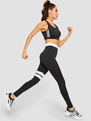 Shein Color Block Sport Bra & Leggings Set
