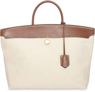 Burberry Cotton Canvas and Leather Society Top Handle Bag