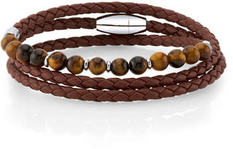 He Rocks Brown Leather and Tiger Eye Bead Triple Wrap Bracelet with Stainless Steel Clasp, 26""