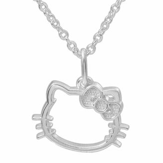 Hello Kitty Sterling Silver Outline Pendant Necklace $49.99 thestylecure.com
