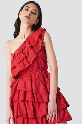Linn Ahlborg X Na Kd All Over Flounce Dress Red