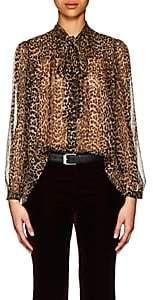 Saint Laurent Women's Leopard-Print Silk Oversized Blouse - Black