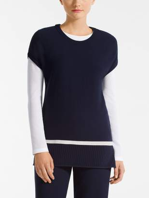 St. John Birdseye Mesh Knit Scoop Neck Tunic
