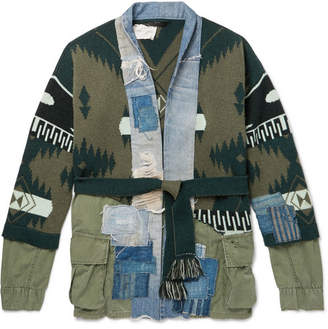 Greg Lauren Alanui + Shawl-Collar Panelled Cashmere-Intarsia And Denim Cardigan