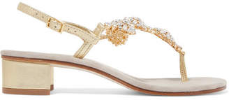 Musa Crystal-embellished Metallic Leather Sandals - Gold