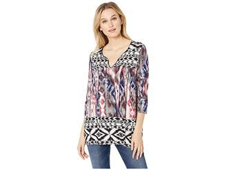 Tribal 3/4 Sleeve Henley Top in Printed Jersey