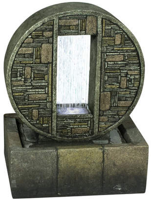 Hi-Line Gift Ltd. Resin Rainfall in Brick Design Medallion with Light
