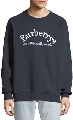 Burberry Men's Battarni Embroidered-Logo Jersey Crewneck Sweatshirt