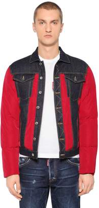 DSQUARED2 Nylon & Denim Puffer Bomber Jacket