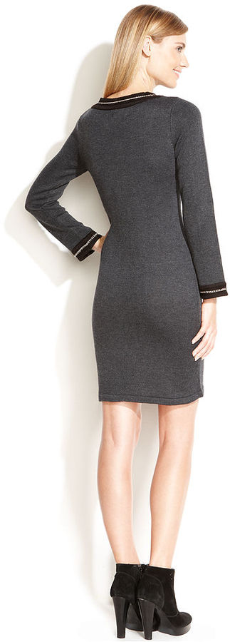 Calvin Klein Chain-Trim Pocket Sweater Dress