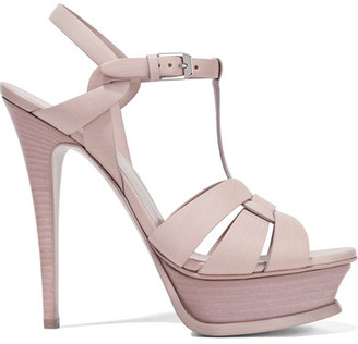 Saint Laurent - Tribute Leather Platform Sandals - Pastel pink $925 thestylecure.com