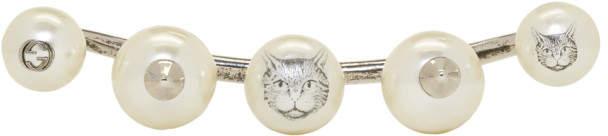 Silver Five-pearl Multi-finger Ring