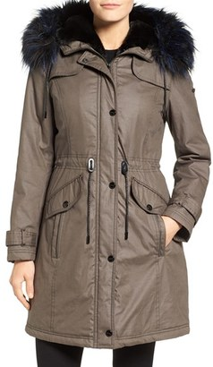 Laundry by Shelli Segal Waxed Cotton Coat with Removable Faux Fur Trim $188 thestylecure.com
