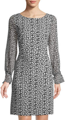 Karl Lagerfeld Paris Floral Split-Sleeve Dress