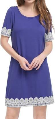 Allegra K Women's Short Sleeves Above Knee Lace Trim Shift Dress S