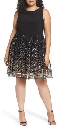 Vince Camuto Sequin Fit & Flare Dress