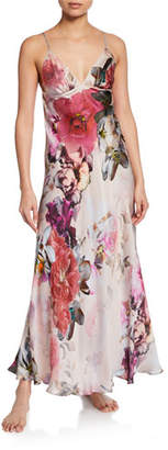 Christine Lingerie Camille Floral-Print Spaghetti-Strap Silk Gown