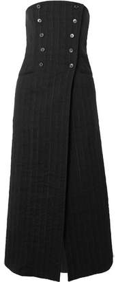 Ann Demeulemeester Convertible Pinstriped Linen-blend Midi Skirt - Black