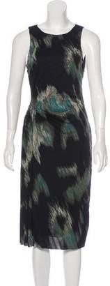 Halston H by Printed Sleeveless Midi Dress