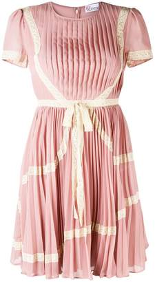 RED Valentino lace trim pleated dress