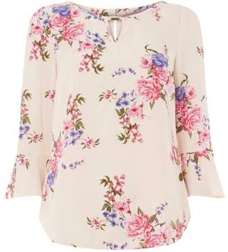 Dorothy Perkins Womens **Billie & Blossom Pink 3/4 Sleeve Floral Print Top