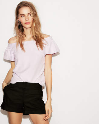 Express Petite Textured Off The Shoulder Bell Sleeve Tee