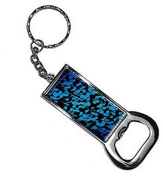 Generic Urban Flow Blue Black Keychain Key Chain Ring Bottle Bottlecap Opener