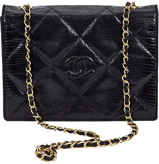 One Kings Lane Vintage Chanel Black Lizard Envelope Flap Bag