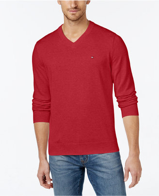 Tommy Hilfiger Men's Signature Solid V-Neck Sweater $49.99 thestylecure.com