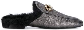 Caruso embellished fur mules