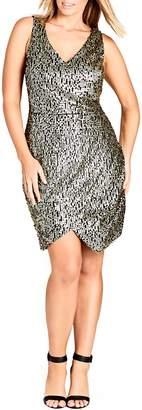 City Chic Dazzle Me V-Neck Sequin Dress