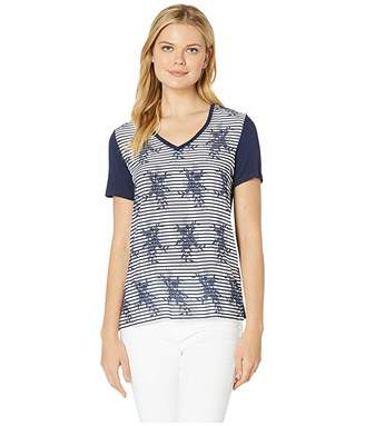 Tribal Printed Challis Short Sleeve Top with Woven Front