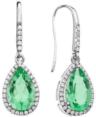 5th & Main Platinum-Plated Sterling Silver Large Slender Teardrop-Cut Green Obsidian Pave CZ Earrings