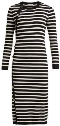 Altuzarra Arzel Striped Ribbed Knit Midi Dress - Womens - Black White