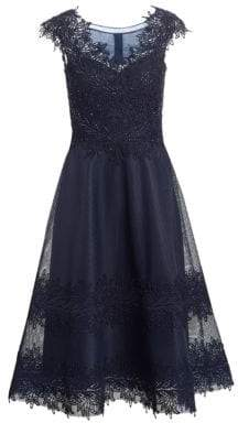 Illusion Cap-Sleeve Fit-&-Flare Dress
