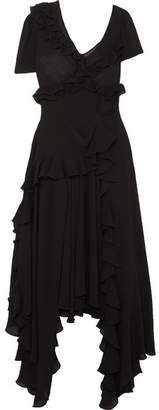 Preen by Thornton Bregazzi Asymmetric Ruffled Crinkled-georgette Dress - Black