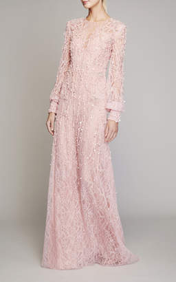 Pamella Roland Pearl-Embellished Chantilly Lace Kaftan Size: 2