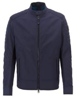 BOSS Hugo Regular-fit biker jacket in water-repellent peached fabric 44R Dark Blue