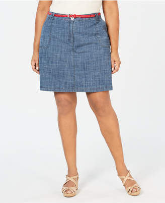 Karen Scott Plus Size Chambray A-Line Skort, Created for Macy's