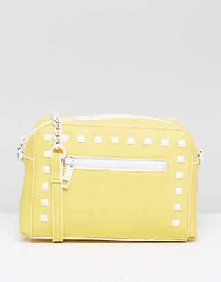 Asos Design Enamel Stud Zip Front Cross Body Bag