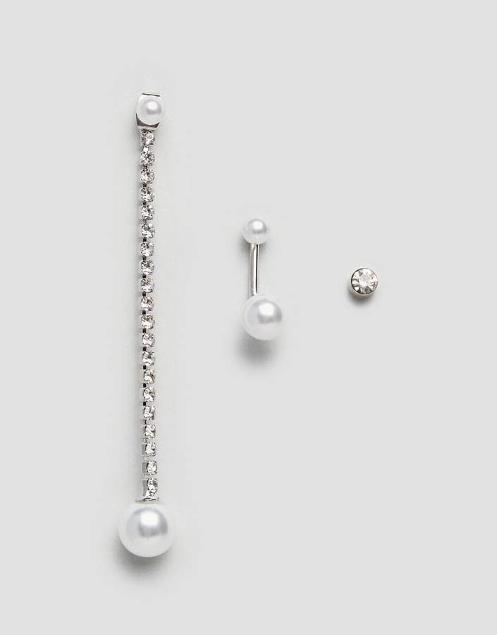 DesignB London Pearl and Chain Earring Multipack