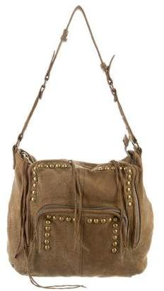 Zadig & Voltaire Distressed Leather Studded Hobo Bag