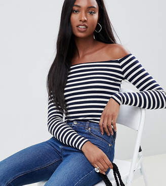 Bardot ASOS Tall ASOS DESIGN Tall body in stripe with long sleeves