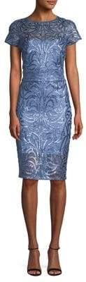 Tadashi Shoji Short-Sleeve Sequin Lace Sheath Dress