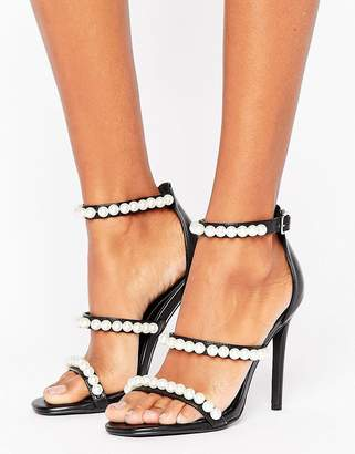 Missguided Pearl Strap Barley There Heeled Sandal $48 thestylecure.com
