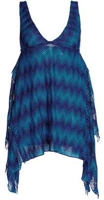 Missoni Fringe-Trimmed Metallic Crochet-Knit Coverup