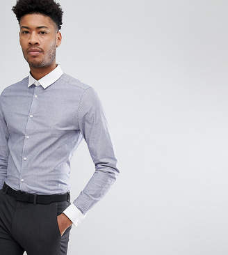 Asos Design TALL Smart Stretch Slim Stripe Shirt With Contrast Collar And Double Cuffs